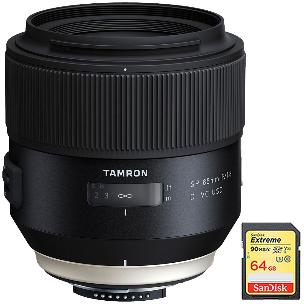 Tamron SP 85mm f1.8 Di VC USD Lens for Nikon Full-Frame DSLR Cameras (F016) with Lexar 64GB Professional 633x SDXC Class 10 UHS-I/U3 Memory Card Up to 95 Mb/s