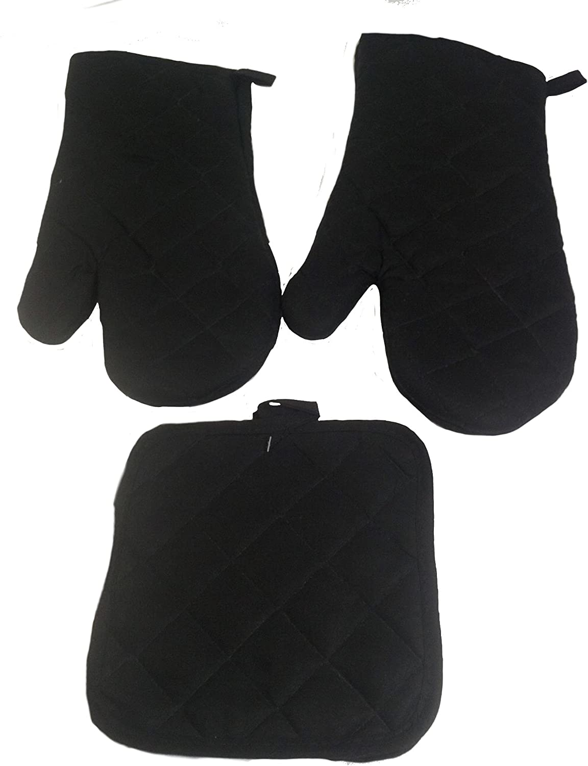 Kitchen Oven Mitt Pot Holder Set Kitchen Linens Oven Mitt Pot Holder Pack (Black)