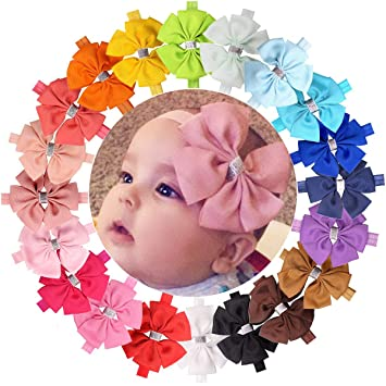 Baby Girl Headbands Grosgrain Ribbon Boutique 4in Hair Bows 20Pcs