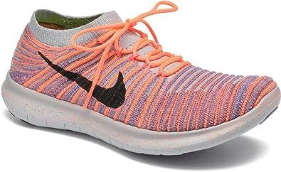 Nike Women s Free Running Motion Flyknit Shoes Bright Mango/Black iron Purple wolf Grey   9.5 B(M) US