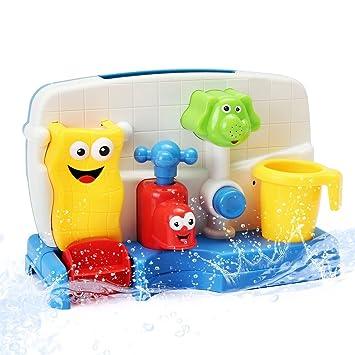 FUNTOK Baby Bath Shower Toys, Cartoon Bath Spray Toys Spray Station Bathtub  Toy Water Sprinkler