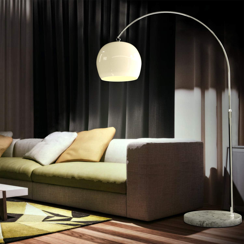 CCLIFE Lámpara de pie moderna Lamparas Mármol con interruptor de cable y pie,bombilla E27 de máximo 60w, Color:Blanco