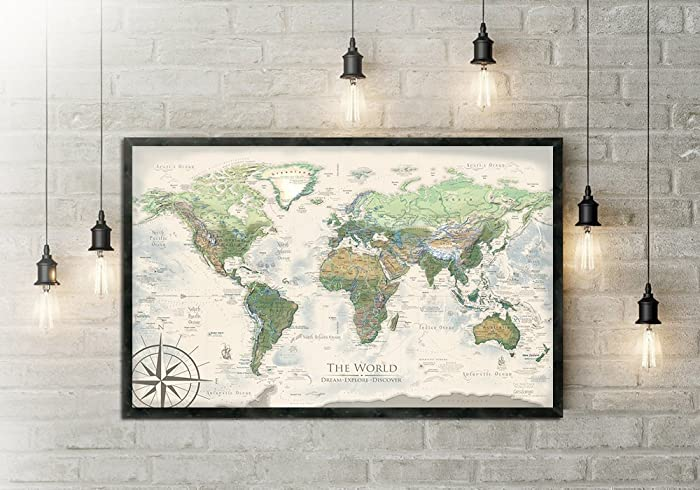 Amazon world map push pin the nautilus world map large world map push pin the nautilus world map large framed map created by gumiabroncs Image collections