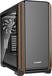 be quiet! Silent Base 601 Window Orange Mid-Tower ATX Computer Case, two 140mm fans, 10mm extra thick insulation mats, PSU shroud (BGW25)