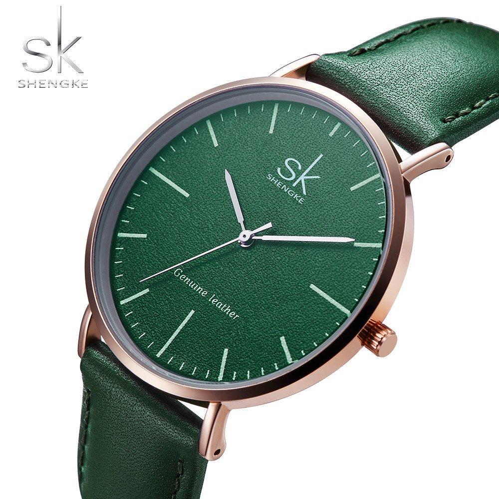 Amazon.com: SHENGKE Genuine Leather Ultra Thin Women Watches 2018 Women Quartz Watch Elegant Dress Ladies Watch K0082L (gold case&green strap): Watches