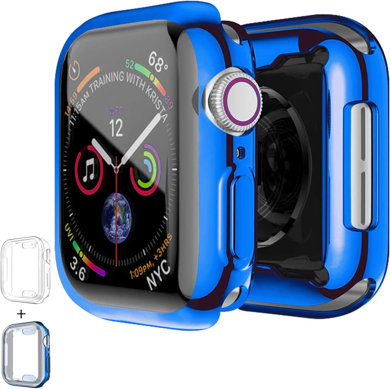 PROATL 360-Degree Case for Apple Watch Series SE/6/5/4/3/2/1 Screen Protector 38mm 42mm 40mm 44mm, [2 Pack] Soft TPU All-Around Clear Protective Case Cover( 44mm, Transparent+ Blue)
