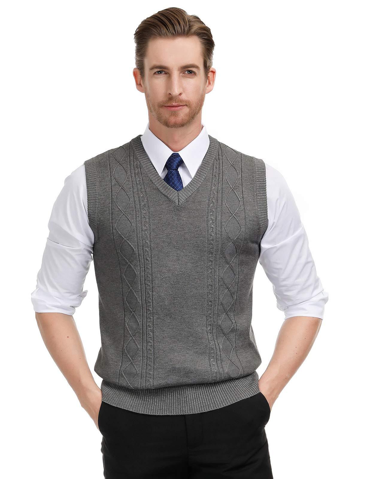 PAUL JONES Men's V-Neck Knitting Vest Sleeveless Pullover Sweater XL Dark Grey by PAUL JONES