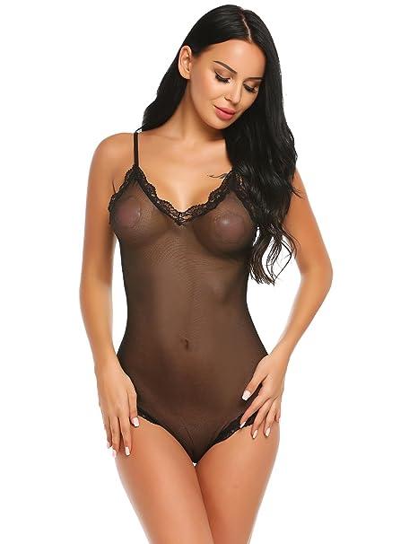 76f705895b etuoji Women Sexy Lingerie Spaghetti Strap Slim One Piece Babydoll Sheer  Mesh Lace Bodysuit at Amazon Women s Clothing store