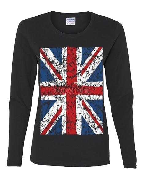 602ed8e18b2 Union Jack Long Sleeve T-Shirt United Kingdom Distressed British Flag Black  S