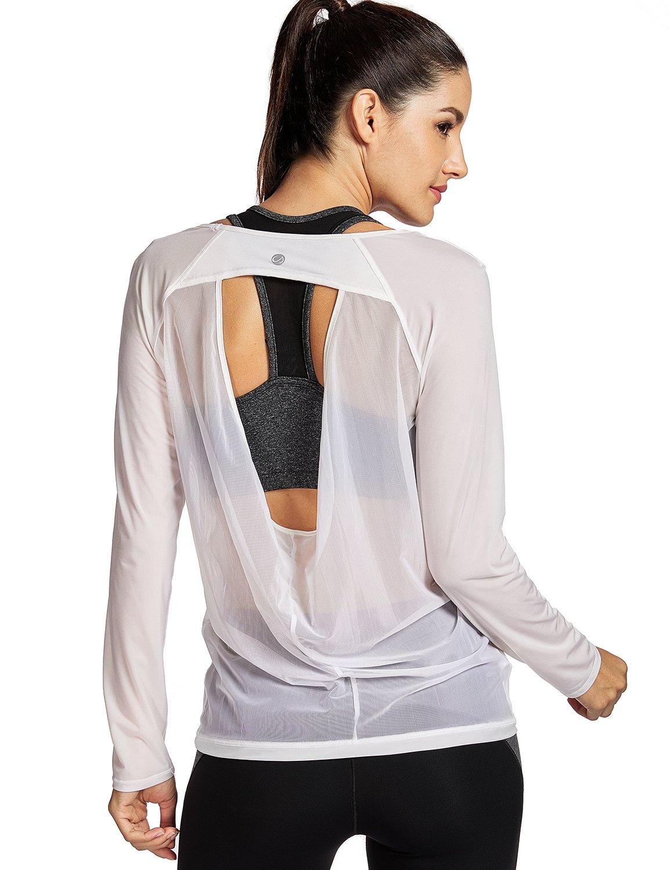 CRZ YOGA Women's Long Sleeve Mesh Workout Yoga Sports T-Shirt Tops