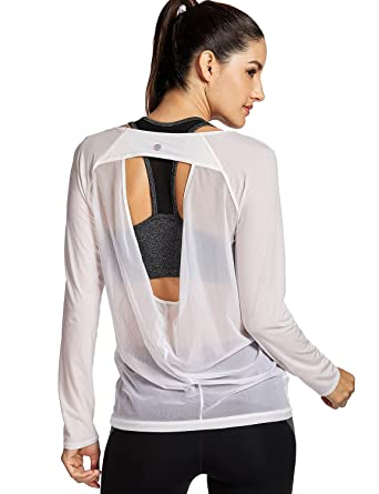 740012858a Amazon.com: CRZ YOGA Women's Long Sleeve Mesh Yoga Sports Tee Tops Workout  T-Shirt White XL(14): Clothing