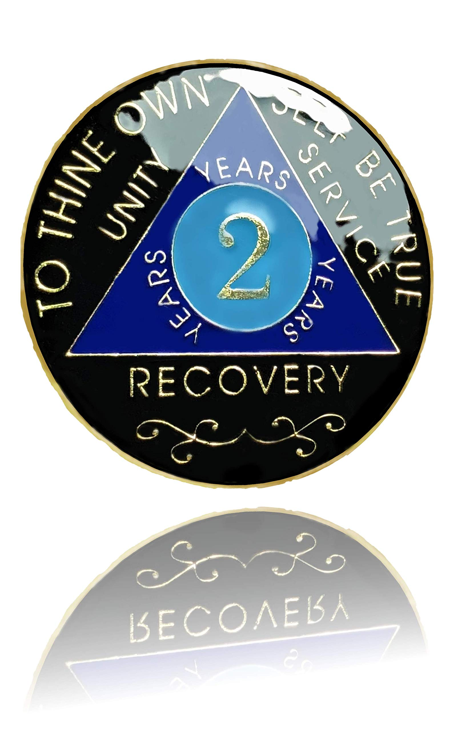 2 Year AA Gold Plated Medallion, Recovery Token, AA Token, Triple Clear Epoxy Sealed