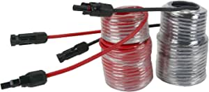 TEMCo 50' Red + 50' Black 10 AWG/Gauge Solar Panel Extension Cable with M/F Solar Connector Ends (Variety of Lengths Available)