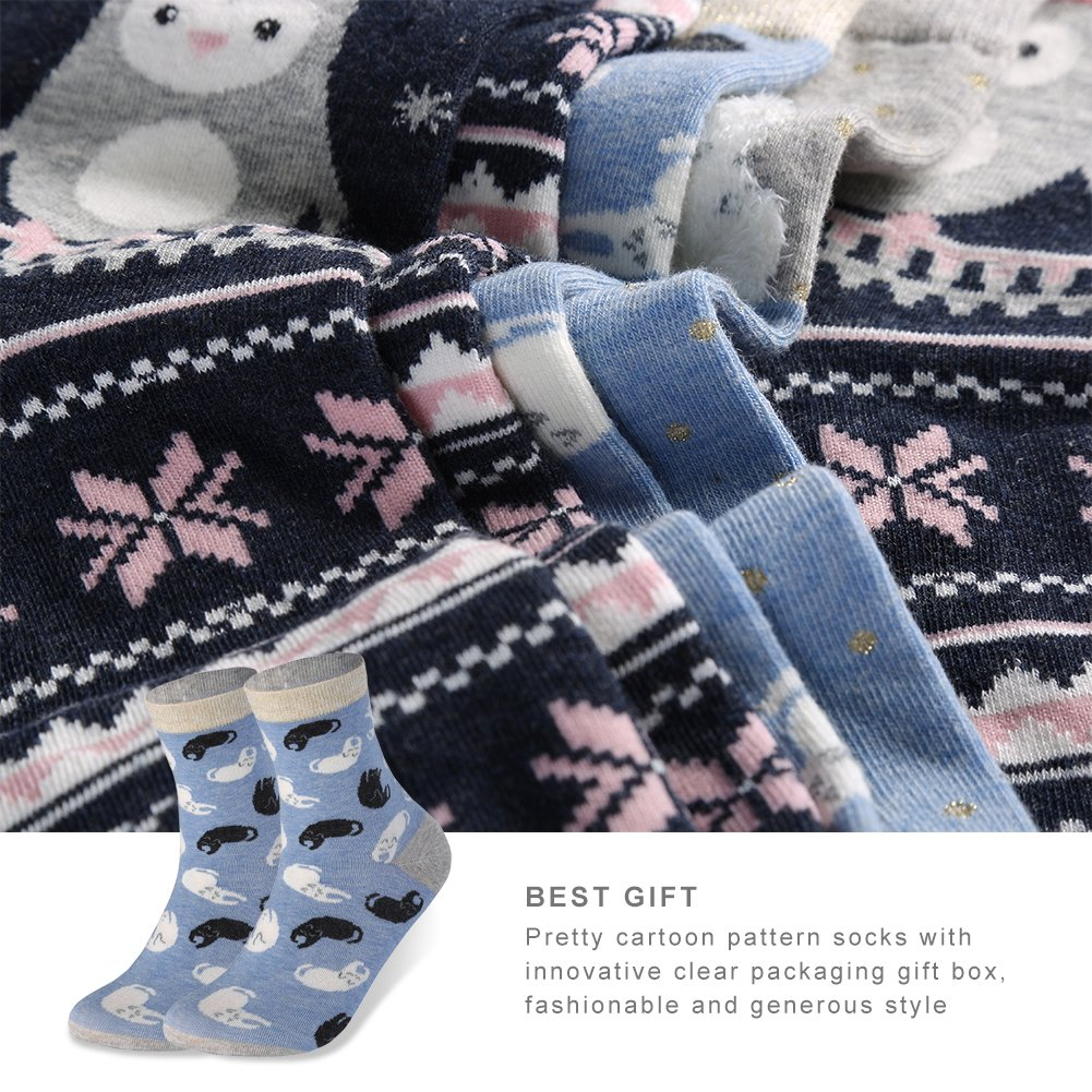 VBIGER 4 pares Calcetines Termicos Mujer Algodón Dibujos Animados Calcetines Para invierno