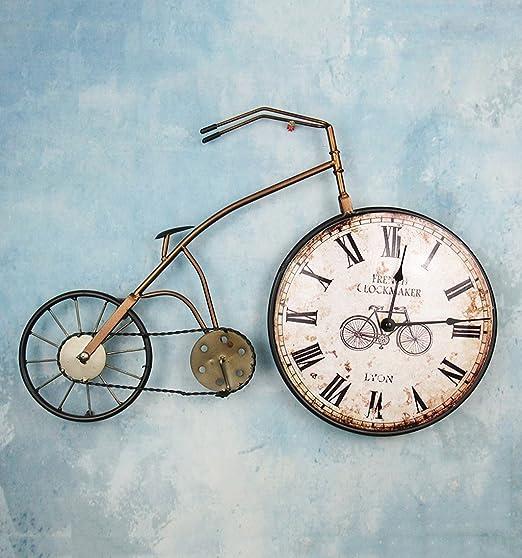 ZHENAI bicicleta reloj de pared Tridimensional hierro Retro colgar en la pared Artesanía Relojes y relojes metal Pared de fondo Decoración: Amazon.es: Hogar