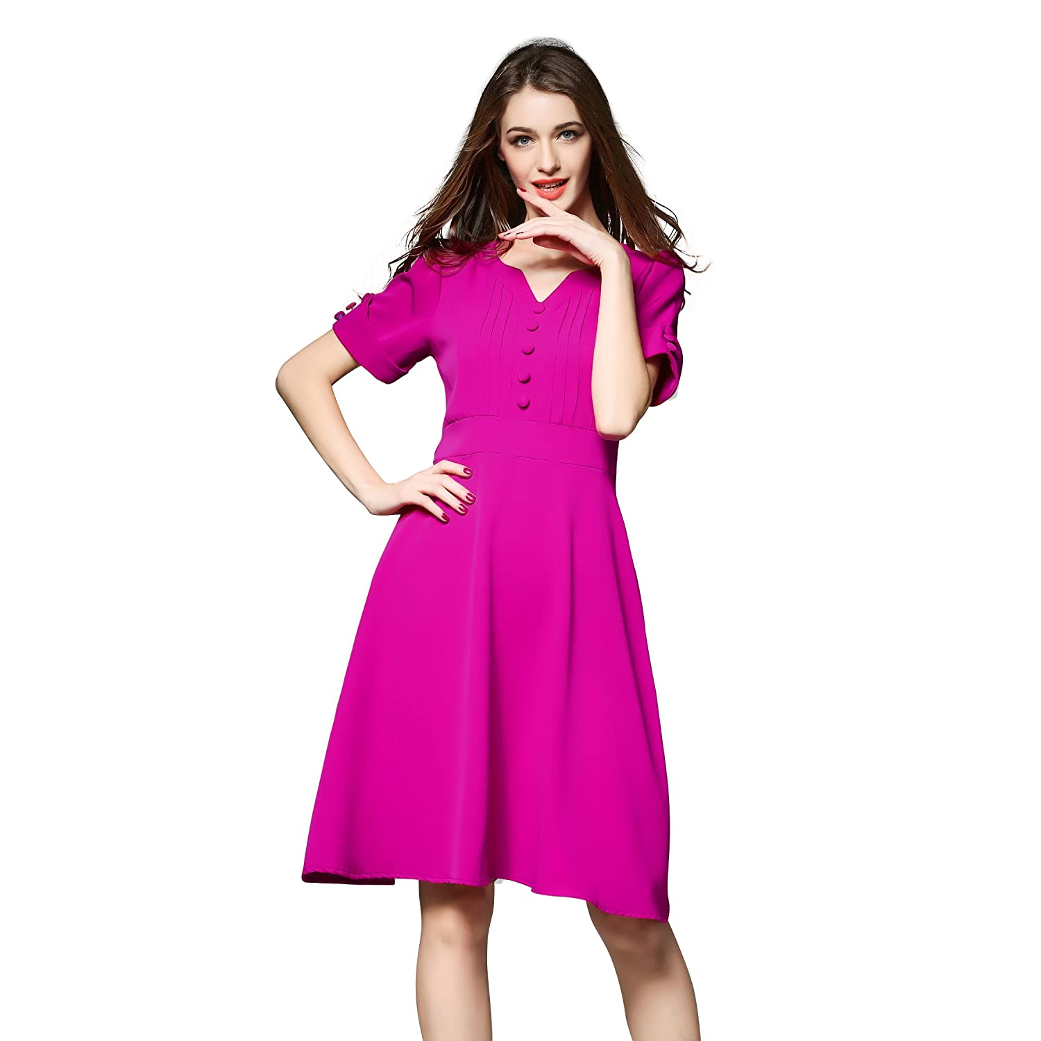 Womens Vintage Short Sleeve V Neck A line Formal Cocktail Evening Dress at Amazon Womens Clothing store: