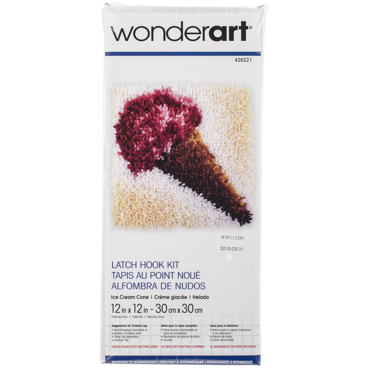 Wonderart Latch-Hook Kit, Unicorn, 12 X 12 12 X 12 4719