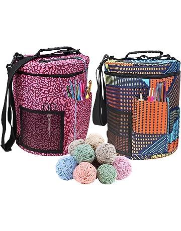 Bolsa de lana para tejer, tamaño grande, cilindro, ganchillo, bolsa de almacenamiento