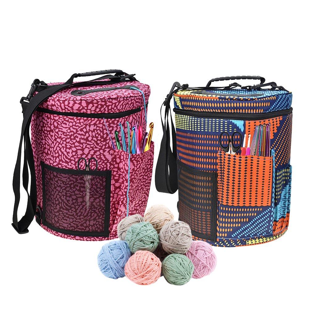 Ampia borsa di alta qualità per lavori a maglia. Borsa a cilindro per riporre uncinetto e lana. Ideale per ordinare lavori a maglia e all'uncinetto A Sue Supply