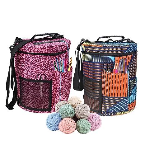 Bolsa de lana para tejer, tamaño grande, cilindro, ganchillo, bolsa de almacenamiento para la máxima organización de ganchillo y hilo de tejer A
