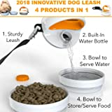 SitStayGo 2018 Innovative Dog Leash | 4 Dog Travel Accessories in 1 | Dog Travel Water Bottle with 2 Dog Travel Bowls & Sturdy Black Dog Leash – Patent Pending
