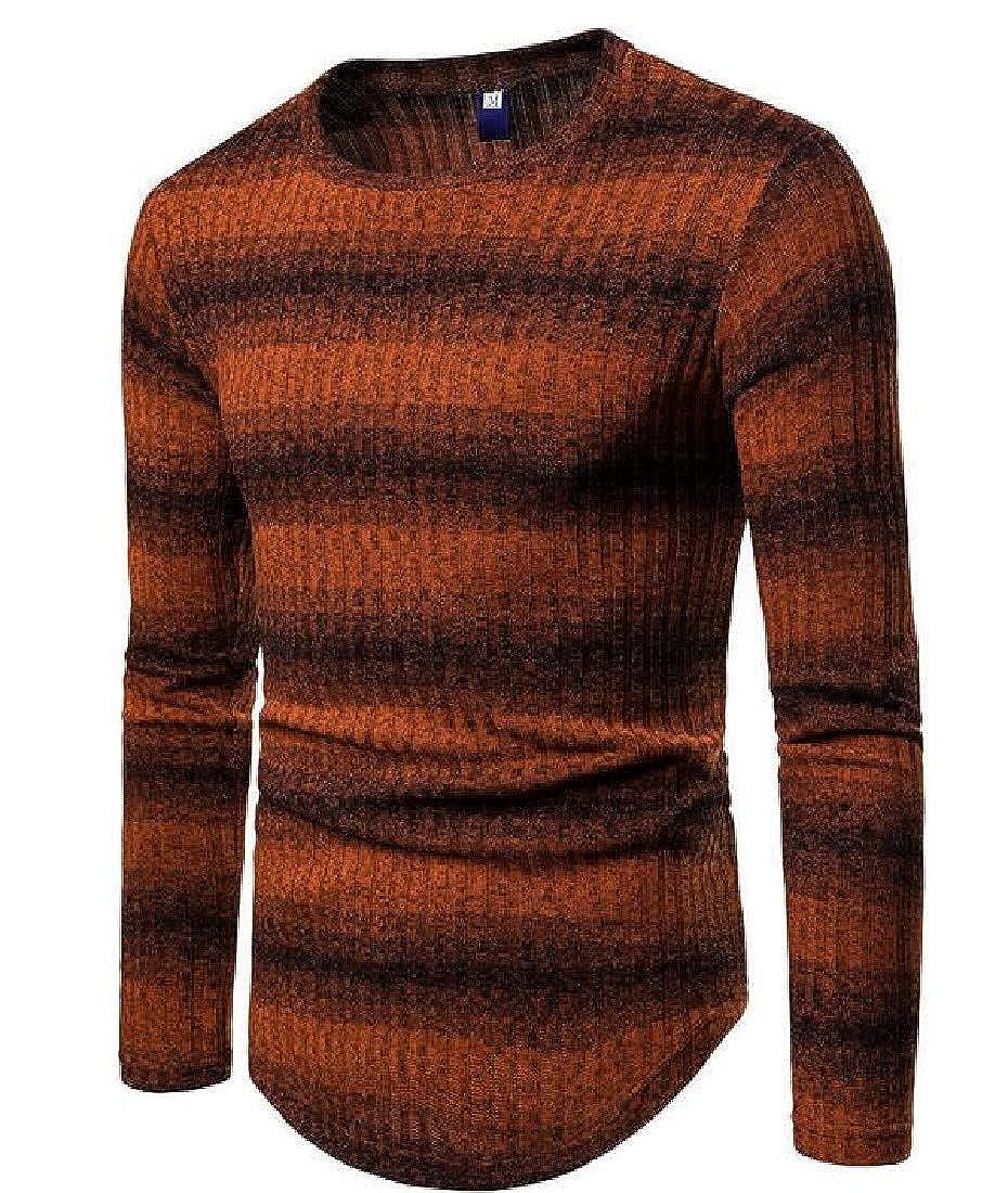 Winwinus Mens Pullover O-Neck Stripe Long Sleeve Gradients Knitwear Sweater