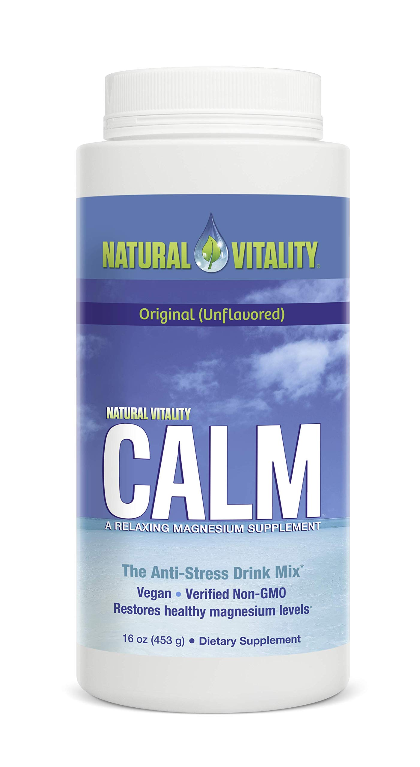 Natural Vitality Calm, The Anti-Stress Drink Mix, Magnesium Supplement Powder, Original Unflavored - 16 ounce by Natural Vitality