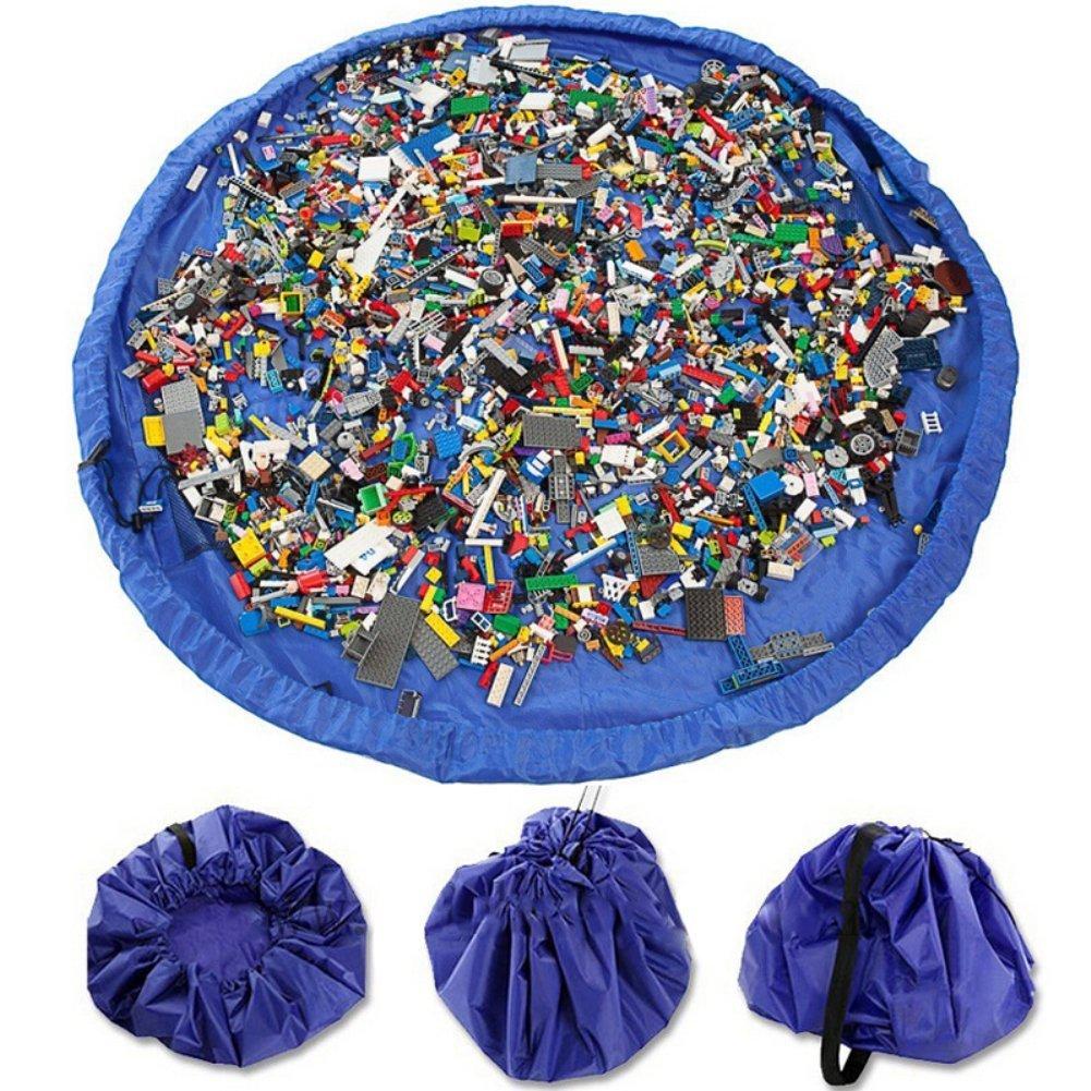 VStoy Alfombra de juego con fácil almacenamiento, se pliega en un bolso bandolera (ideal para Lego, Duplo y otros juguetes de los niños para recoger rápidamente)(grande - 150 cm) (rosa)