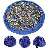 VStoy Tappetino per giochi semplici che si trasforma in sacco di raccolta - ideale per una veloce raccolta di Lego, Duplo e giocattolo vari (Dimensioni - 150cm)