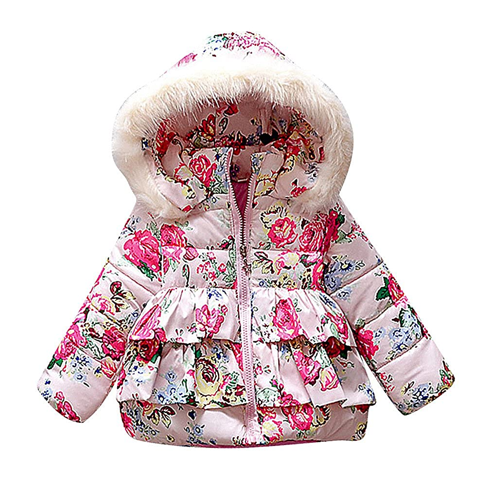 Sweety Baby Girls Tiered Quilted Floral Pattern Fur Lined Hood Down Jacket