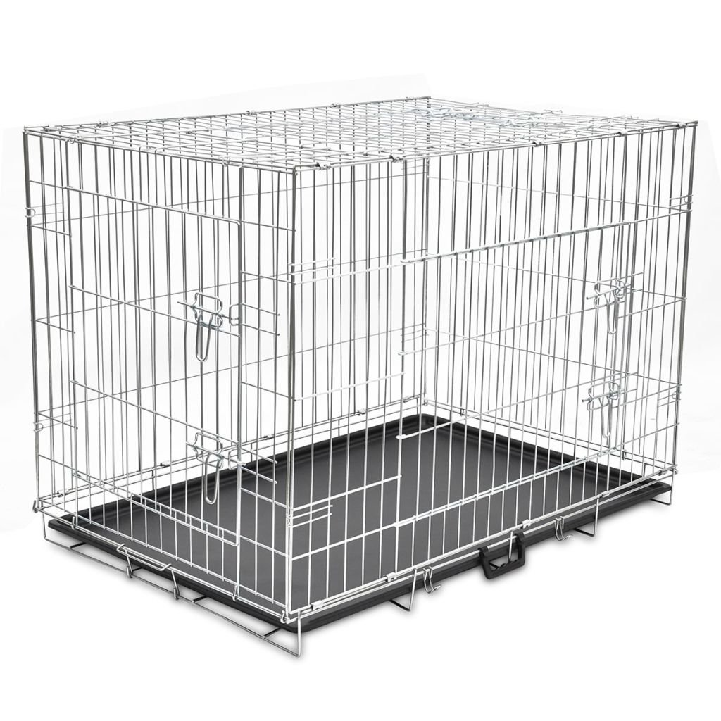 vidaXL Gabbia Trasportino Box Animali Cani Cuccioli Pieghevole Metallo M