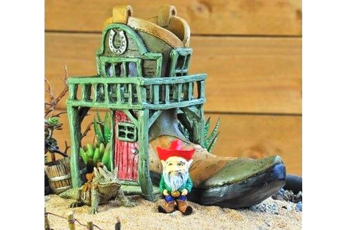 Mini Dollhouse FAIRY GARDEN Accessories - Cowboy Boot Canteen House - My Garden Miniatures
