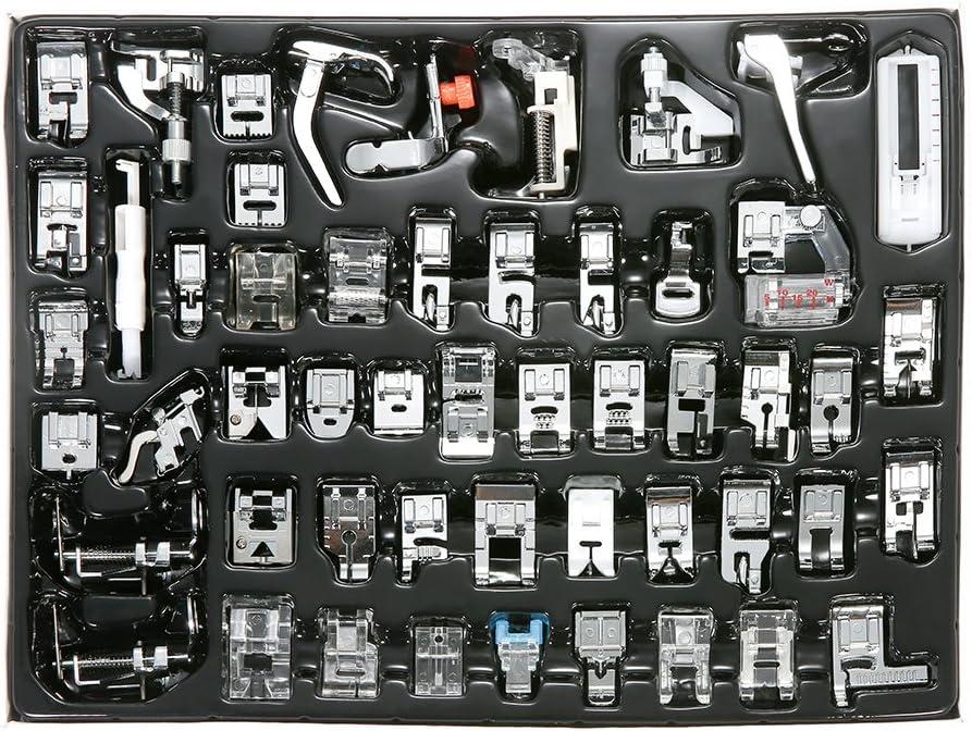 Decdeal - Kit de 52 Piezas Multifuncional Prensatelas Accesorios para Máquina de Coser Presser Feet (Compatible para Caña Baja, para Brother/Babylock/New Home/Singer/Janome/Kenmore etc)