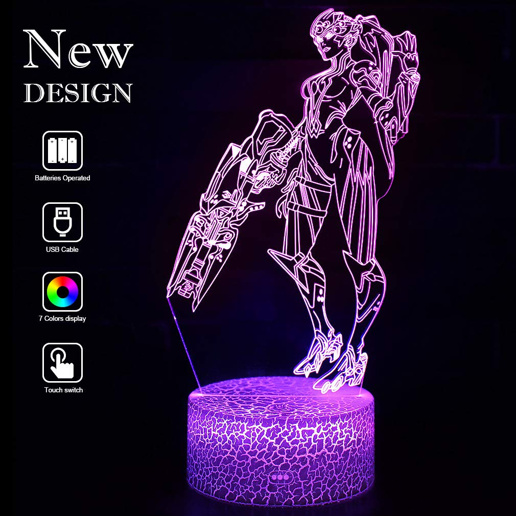 Overwatch Widowmaker Lamp Baby 3D Mood Lamps RGB Changeable Lighting Base Acrylic Crafts for Birthday Holiday Christmas Party Decoration (Widowmaker Crack Base)