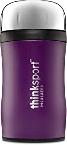 Thinksport 17oz GO4TH Travel Lunch Container with Lid & Folding Spork | Stainless Steel, Triple-Walled Insulated, Vacuum-Sealed, 24 Hrs Cold, 8+ Hrs Hot - Purple