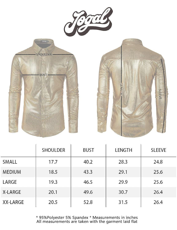 JOGAL Mens Dress Shirt Sequins Button Down Long Sleeve Shirts 70s Disco Party Costume