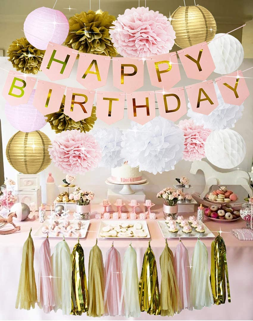 Pink and Gold Birthday Party Decorations Happy Birthday Bunting Banner Tissue Paper Pom Poms Flowers Paper Lanterns Paper Honeycomb Balls Tissue Paper Tassel Garland for Girls' 1st Birthday