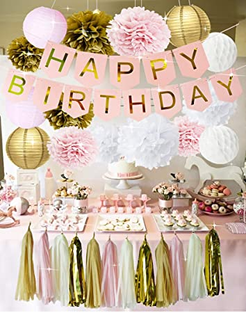 Pink And Gold Birthday Party Decorations Happy Bunting Banner Tissue Paper Pom Poms Flowers