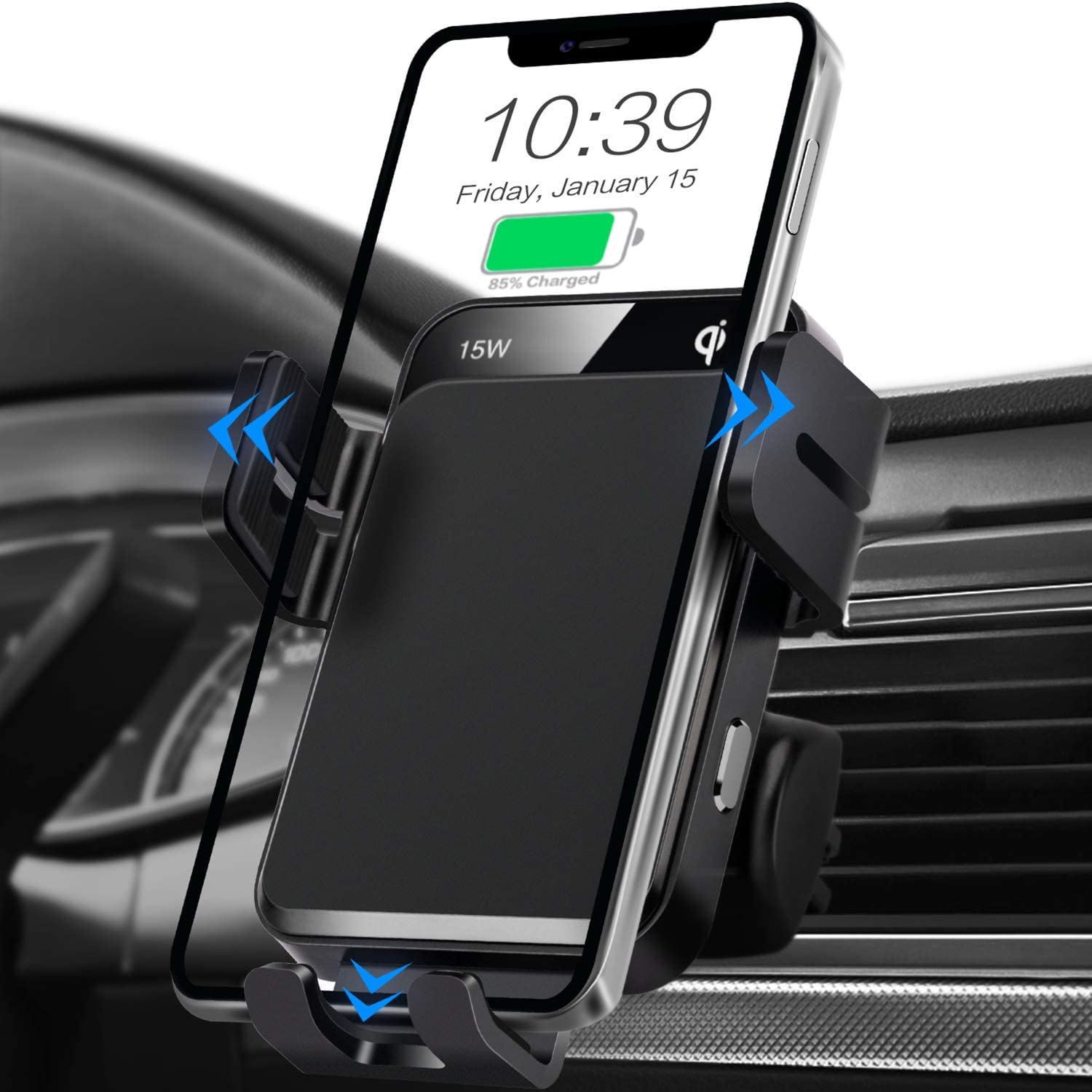 Wireless Car Charger, MOKPR 15W/10W/7.5W Qi Fast Charging Auto-Clamping Car Charger Air Vent Car Phone Holder Mount Compatible with iPhone 12 Pro Max/12 pro/12/11 Series, Samsung Galaxy Series, etc