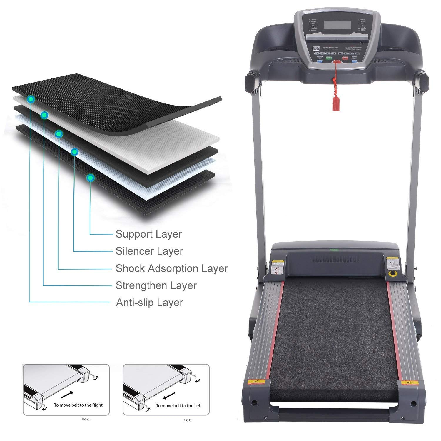 Miageek Fitness Folding Electric Jogging Treadmill with Smartphone APP Control, Walking Running Exercise Machine Incline Trainer Equipment Easy Assembly by Miageek (Image #8)