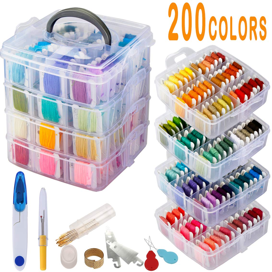 238 Pack Embroidery Thread Floss Set Including 200 Colors 8M/Pcs Cross Stitch Sewing Thread with Floss Bins and 38 Pcs Cross Stitch Tool,4-Tier Transparent Box for Storage by BYMORE