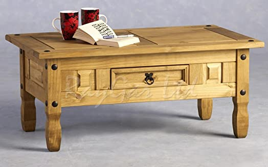 Corona Coffee Table Wooden 1 Drawer Solid Distressed Waxed finish