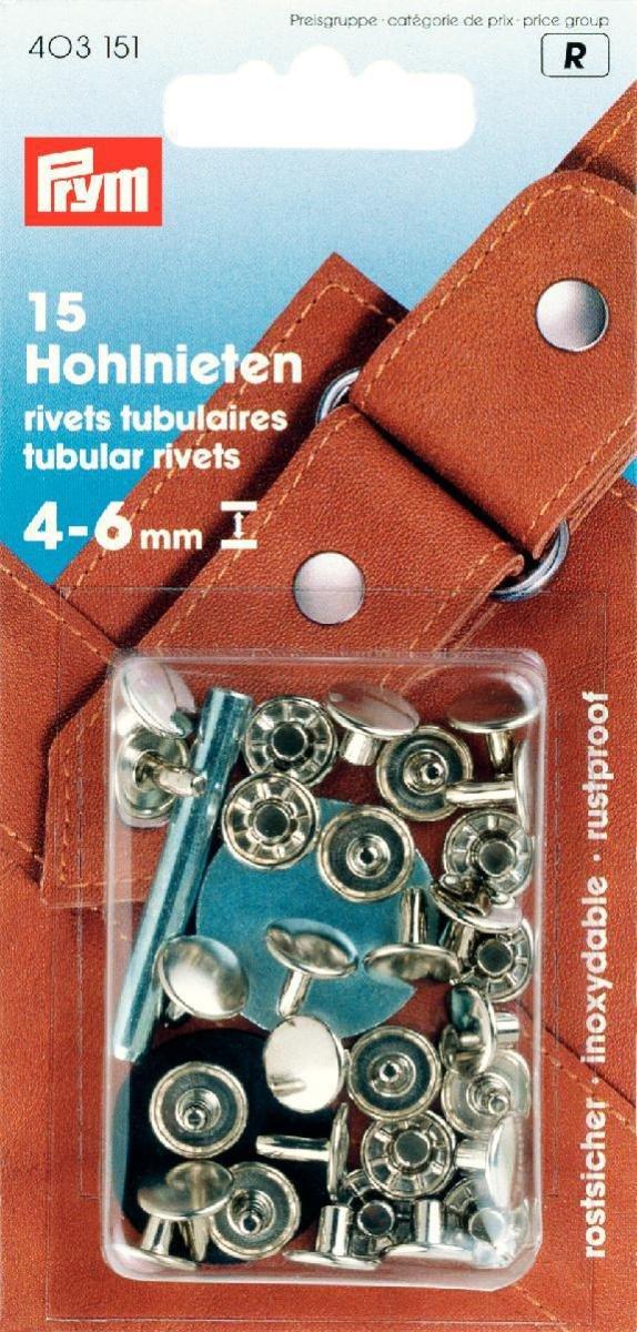 PRYM 403151 remaches tubulares plata-colores para 4-6mm material de grosor, 15 piezas TOKO-Kurzwaren