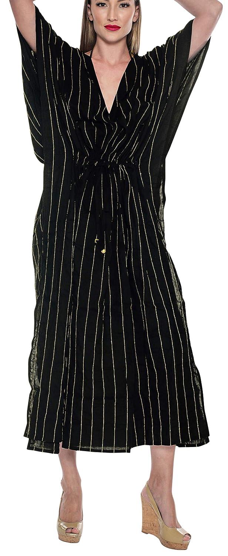 LA LEELA Frauen Damen Rayon Kaftan Tunika Bestickt Kimono freie Größe Lange Maxi Party Kleid für Loungewear Urlaub Nachtwäsche Strand jeden Tag Kleider CK