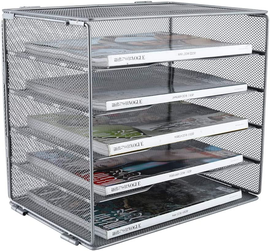 PAG 5-Tier Mesh Desktop File Organizer Mail Sorter Literature Magazine Holder, Silver