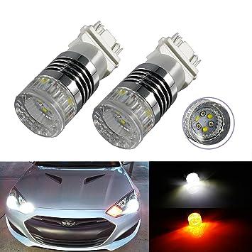 2 colores de bombillas LED de alta energía 3157 Switchback Dual Color blanco/ámbar para luces intermitente frontal: Amazon.es: Coche y moto