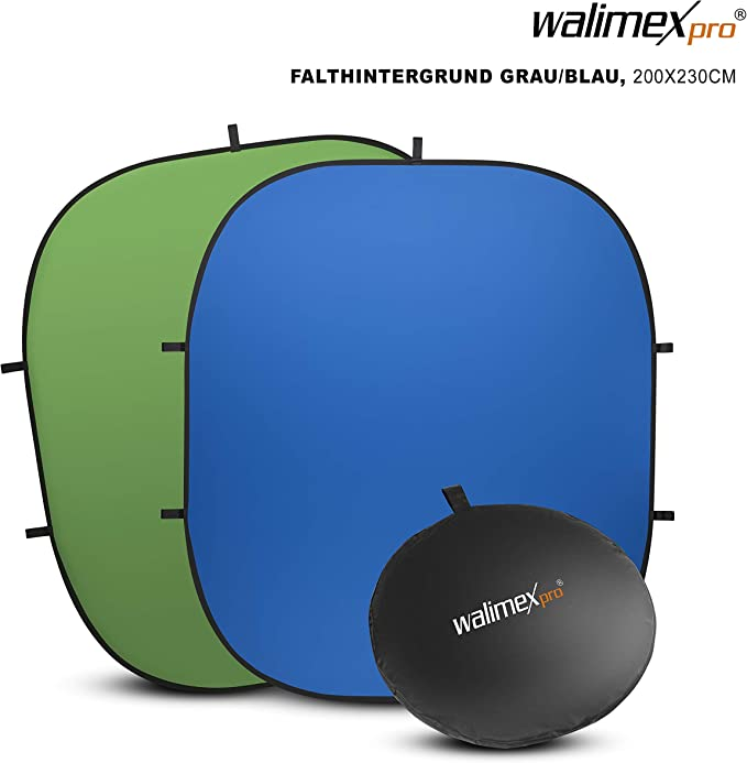 Walimex Pro Falthintergrund Grün Blau Kamera