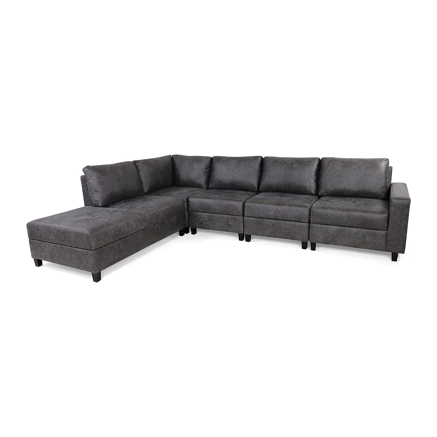 Amazon Com Kama Chaise Sectional Sofa Set 5 Seater Hidden Storage