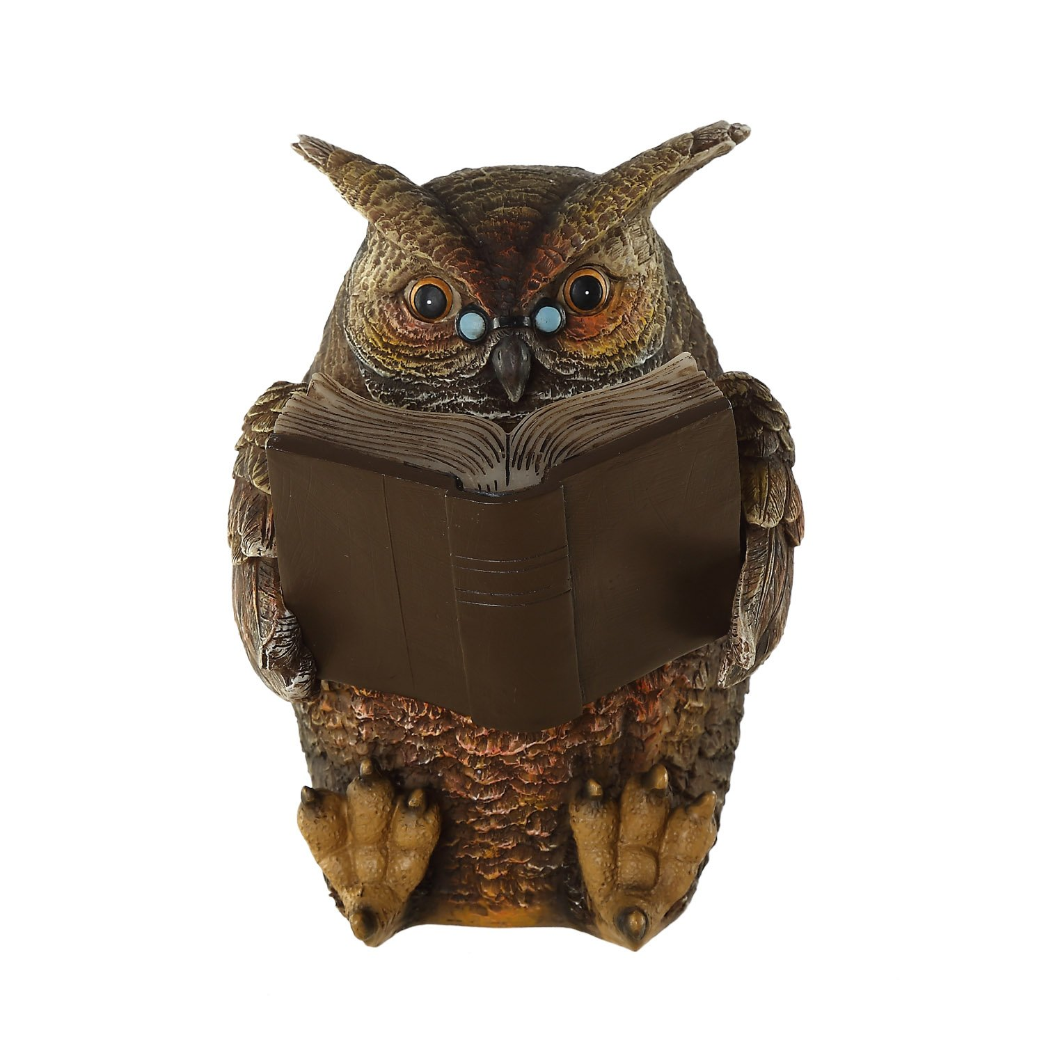 Ivy Home Schooling Garden Solar Resin Statuary Owl Statue Art Ornament Decor for Lawn Yard Patio