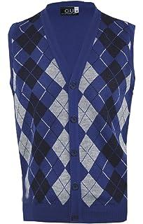 bec17607d7f5b1 Clothing Unit Mens Argyle V-Neck Sleeveless Sweater Button Tank Top Golf  Casual Cardigan S
